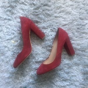 J.crew Ella red suede block heels